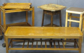 VINTAGE & LATER OCCASIONAL FURNITURE, 4 ITEMS - a mid-century teak coffee table by Remploy, 40cms H,