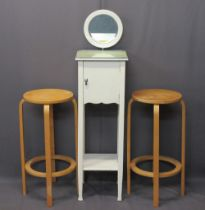 VINTAGE PAINTED SHAVING STAND and two Alvar Aalto type bentwood stools, the stand having circular