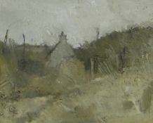 GORDON STUART acrylic - landscape with gable end of house, 18 x 22cms NB: Located for viewing /