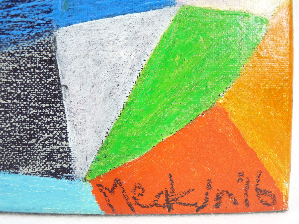 DANIEL MEAKIN mixed media on box canvas - abstract, 'Awesome Composition', signed and dated 2016, - Image 3 of 3