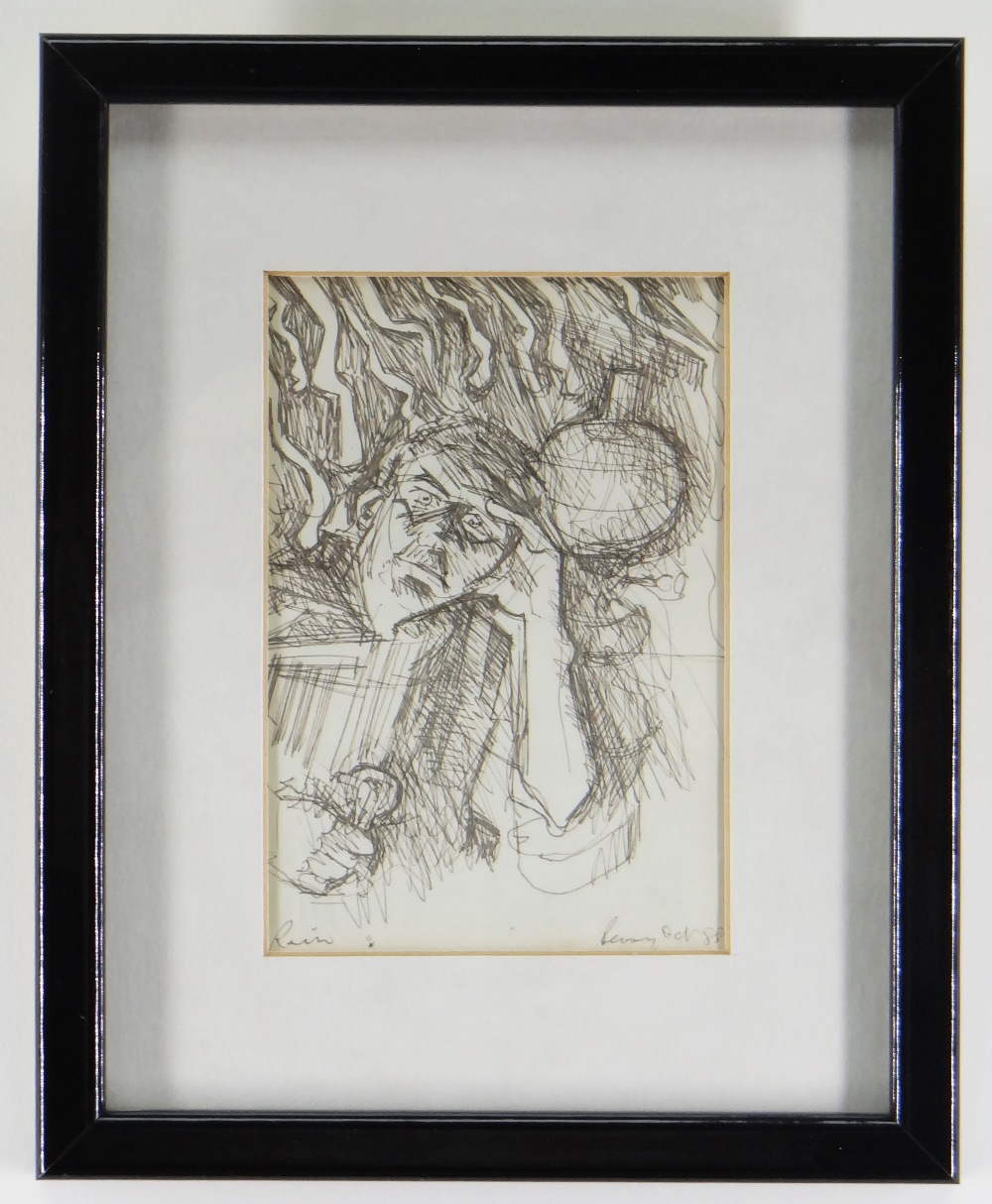 ALAN PERRY pen and ink - figure, entitled 'Rain' and with inscription verso 'A free sketch for you - Image 2 of 2