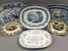 SIX VARIOUS TRANSFER POTTERY PLATTERS including small Ynysmeudwy Pottery brown transfer platter with