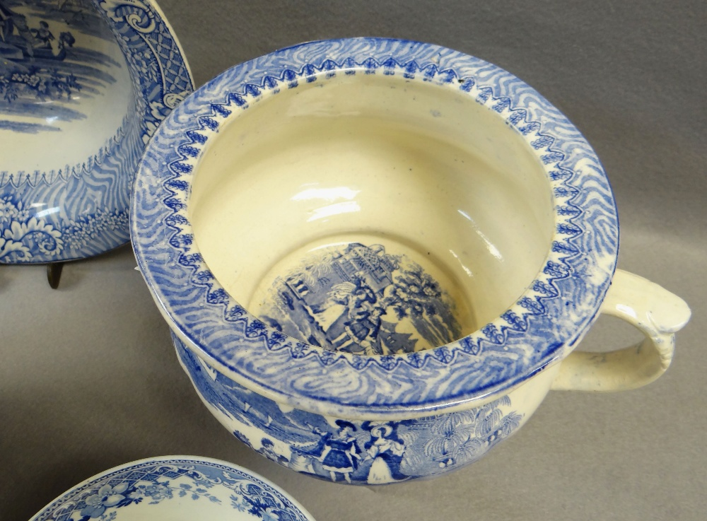 FOUR ITEMS OF WELSH BLUE & WHITE TRANSFER POTTERY including chamber-pot, 'Cows Crossing Stream' - Image 2 of 4