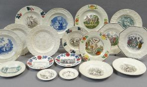AN EXCELLENT COLLECTION OF 18 MOULDED BORDER WELSH CHILD'S PLATES OR SIMILAR mostly if not all