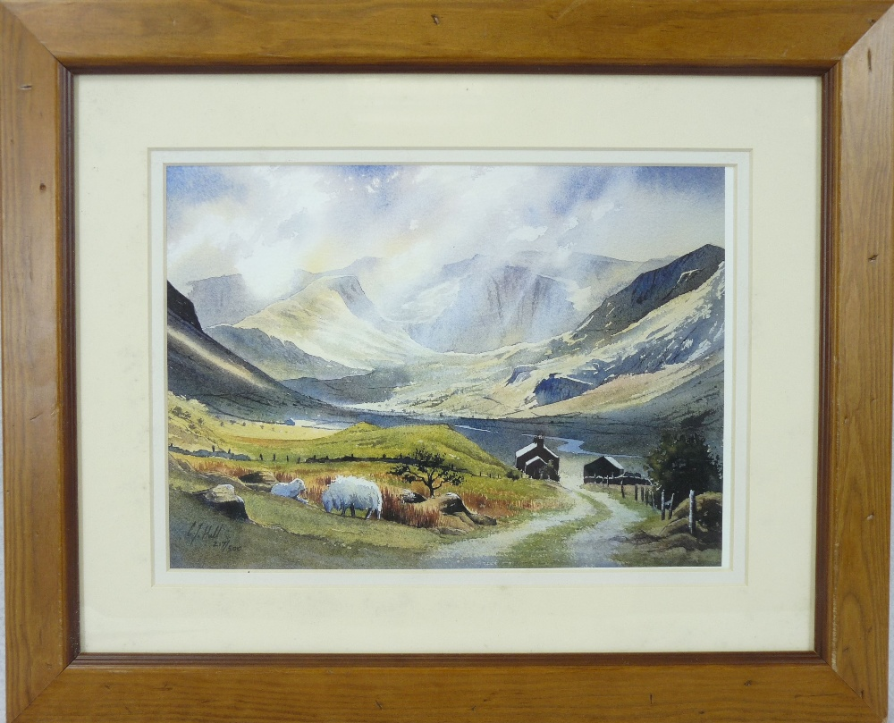 C J HALL limited edition coloured print (217/500) - Nant Ffrancon under shafts of sunlight with - Image 2 of 3