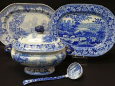 CAMBRIAN POTTERY 'COWS CROSSING STREAM' PLATTER, TUREEN & LADLE in blue and white transfer, the