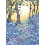 STEPHEN JOHN OWEN mixed media - tree scape sunset with large foreground bed of blue flowers,