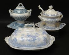 THREE VARIOUS LLANELLY POTTERY TUREENS including two soup tureens, each in blue and white
