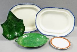 ANTIQUE WELSH POTTERY GROUP OF FIVE comprising two feather-edged pearlware platters, two BB&I