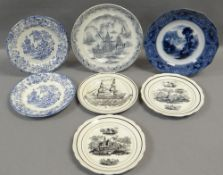 SEVEN VARIOUS WELSH POTTERY PLATES including Dillwyn & Co 'Ship Plate', two similar black transfer