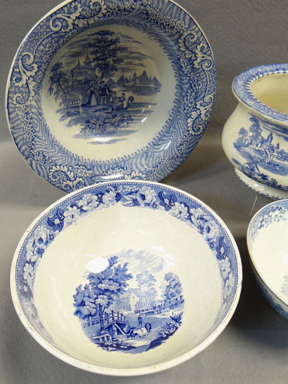 FOUR ITEMS OF WELSH BLUE & WHITE TRANSFER POTTERY including chamber-pot, 'Cows Crossing Stream' - Image 3 of 4