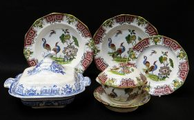 YNYSMEUDWY POTTERY DINNERWARE IN THE 'ORIENTAL BIRDS' PATTERN comprising blue and white tureen and