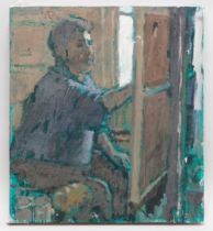 GORDON STUART oil on canvas - portrait of an artist working at an easel, 40 x 37cms NB: Located