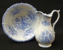 A TRANSFER DECORATED SWANSEA POTTERY JUG & BASIN of fluted form, transfer of flowers, vegetation,
