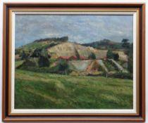 GLYN GRIFFITHS oil on board - landscape, entitled verso on Kooywood Gallery label, 'Quarry,