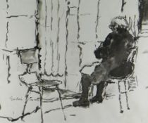 GORDON STUART inkwash - seated figure in a chair, signed, 35 x 43cms NB: Located for viewing /