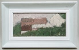 GORDON STUART oil on board - entitled verso 'Welsh Barns', signed, 17 x 37cms NB: Located for