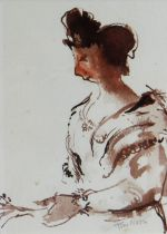 TOM NASH watercolour - three quarter portrait of a lady in Arles, France, signed, 18 x 13cms