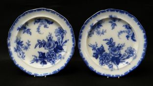 A PAIR OF LLANELLY POTTERY CHARGERS WITH PERSIAN ROSE TRANSFER, impressed SWP and the number 12 to