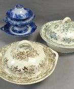 THREE VARIOUS ANTIQUE WELSH POTTERY TUREENS Comments: please view in person to examine condition