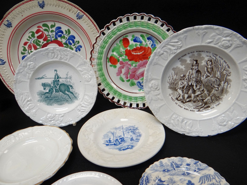 GROUP OF WELSH POTTERY DECORATIVE PLATES including three floral enamelled arcaded border plates with - Image 2 of 5