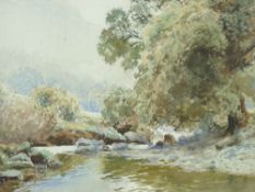 JOHN PEDDER watercolour - riverscape with over hanging tree, signed, 25 x 35cms N.B. This lot is