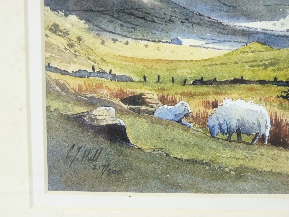 C J HALL limited edition coloured print (217/500) - Nant Ffrancon under shafts of sunlight with - Image 3 of 3