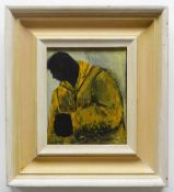 JAMES DONOVAN oil on board - man wearing yellow jacket, 17 x 14cms NB: Located for viewing /