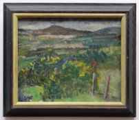 EDWARD LEWIS (1936-2018) oil on canvas - mountain landscape, entitled verso 'Rhigos', signed and