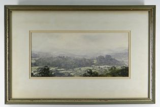 GARETH THOMAS watercolour - Carmarthenshire landscape, entitled verso 'Above Golden Grove, Dinefwr