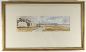 ANDREW DOUGLAS FORBES watercolour - roadside chapel and house, 9 x 32cms NB: Located for viewing /
