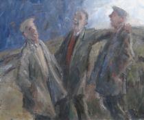 GARETH PARRY oil on canvas - three standing gentleman in jolly conversation, entitled 'Tri Ffrind (