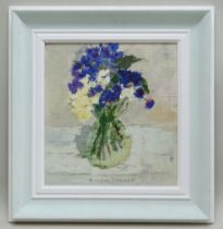 GORDON STUART acrylic - still life of blue flowers with green leaves, 28 x 34cms NB: Located for
