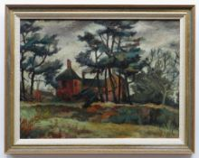 CYNTHIA GRIFFITHS oil on board - landscape with house and trees, entitled verso 'Old House at