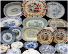 COLLECTION OF LLANELLY POTTERY PLATTERS & PLATES, various transfers Comments: please view in