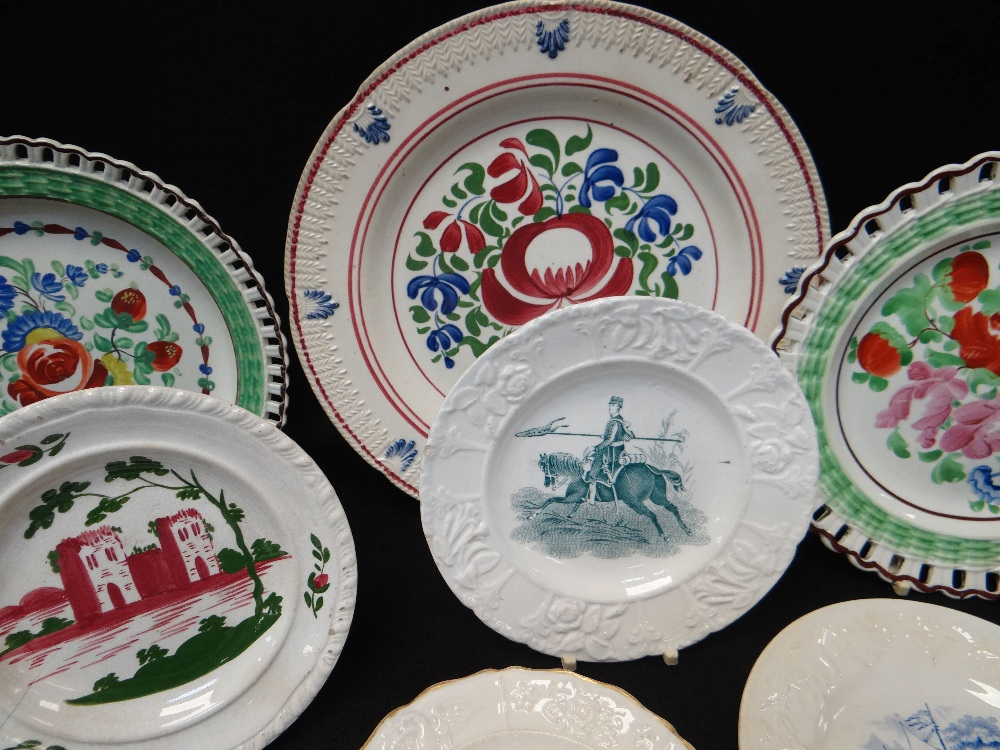 GROUP OF WELSH POTTERY DECORATIVE PLATES including three floral enamelled arcaded border plates with - Image 5 of 5