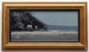 DEREK WILLIAMS oil on board - panoramic view across Laugharne estuary featuring Dylan Thomas's