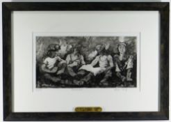 VALERIE GANZ limited edition (30/150) etching - four seated miners, title to margin 'Breakfast',