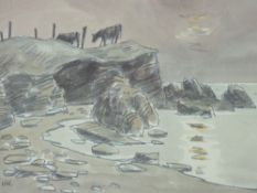 SIR KYFFIN WILLIAMS RA coloured limited edition (369/750) - sunset coastal scape with two cattle