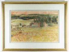 GLYN GRIFFITHS oil on paper / card / board - landscape, entitled verso 'The Green Farm, Shelsley