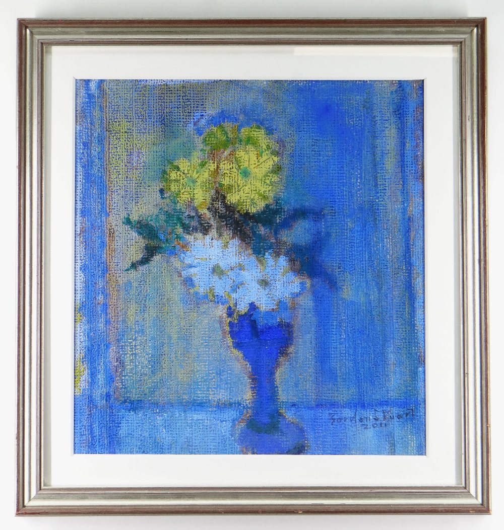 GORDON STUART oil on canvas - still life of flowers in a blue vase, signed and dated 2011, 38 x