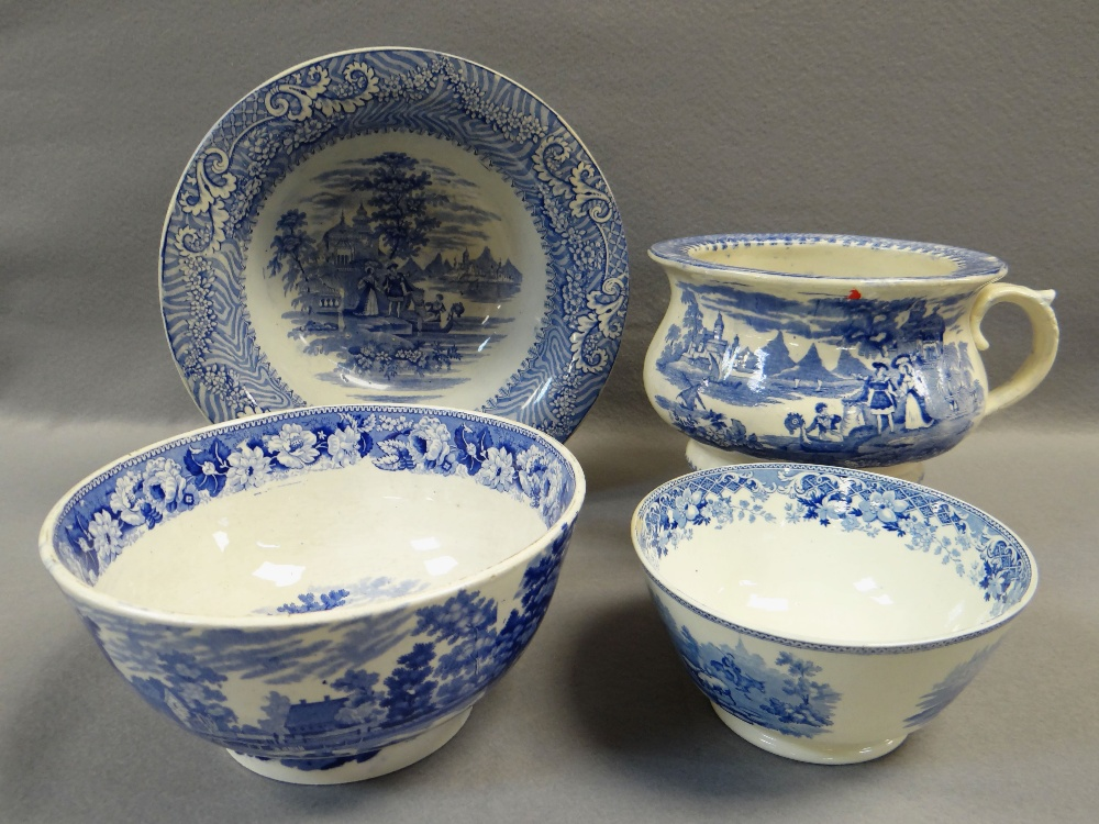 FOUR ITEMS OF WELSH BLUE & WHITE TRANSFER POTTERY including chamber-pot, 'Cows Crossing Stream'
