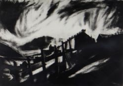 DAVID CARPANINI limited edition (11/20) etching - south Wales street, title to margin 'Gable End',