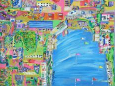 DANIEL MEAKIN mixed media on box canvas - entitled 'Loving life on the coast', signed and dated