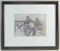 GORDON STUART mixed media - two figures on a bench, signed, 17 x 24cms NB: Located for viewing /