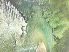 ALEX CAMPBELL acrylic on canvas - tree lined river with rippled eddy to the foreground, signed and