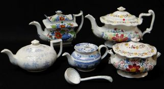 FOUR ANTIQUE WELSH POTTERY TEAPOTS, blue and white transfer, coloured transfer and hand decorated