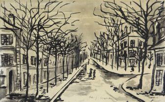 ATTRIBUTED TO JOSEF HERMAN OBE RA inkwash on paper - tree lined street with figures, entitled