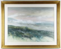 GLEN SELDON watercolour - view of a cottage in a moorland landscape, signed, 45 x NB: Located for