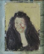 GORDON STUART oil on paper laid to board - head portrait of a girl with hand over mouth, signed,